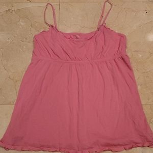 American Eagle Pink Ruffle Cami with Bow Detail
